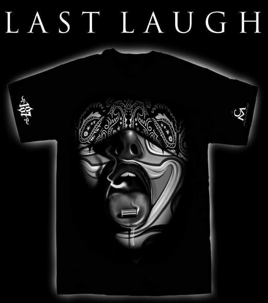 Last Laugh Mens Shirt 187 Inc Chicano Tattoo Art Gangster Ideas And Designs