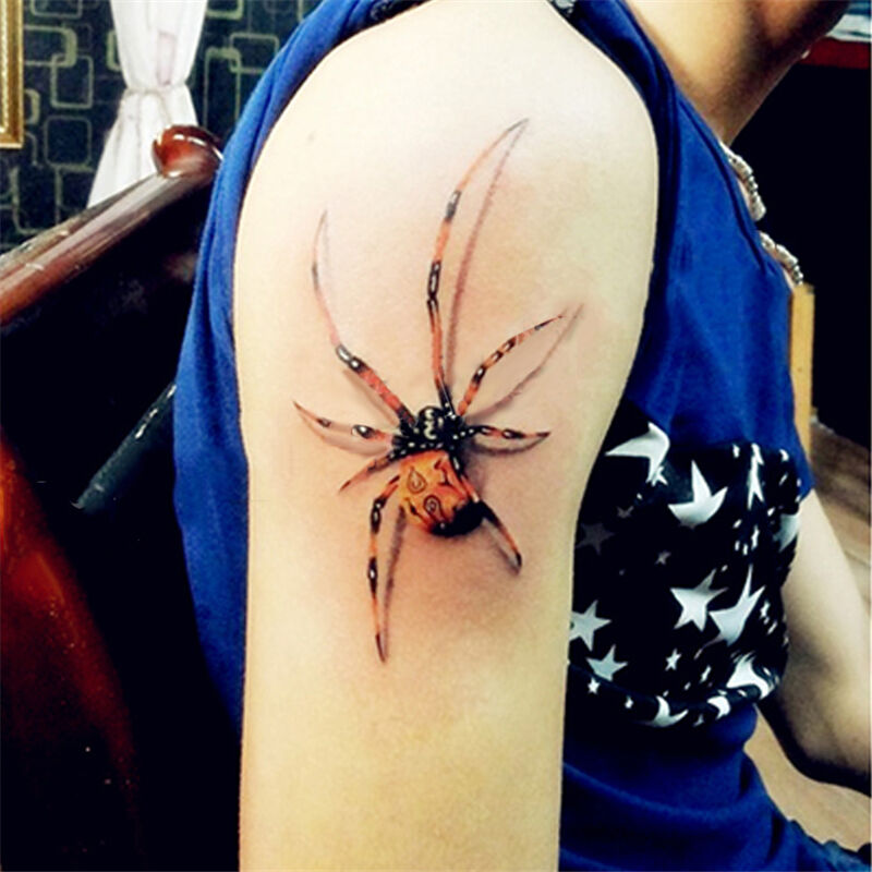 1 Sheet Temporary Tattoo Decal 3D Spider Transfer Body Art Ideas And Designs