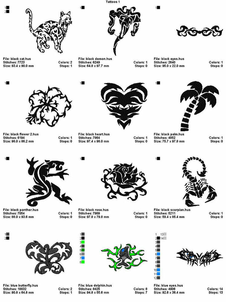 48 Tattoos 4X4 Volume 1 Mega Embroidery Designs On Cd Ebay Ideas And Designs