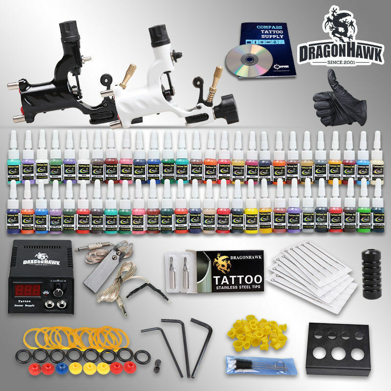 Professional Complete Tattoo Kit 2 Top Rotary Machine Gun Ideas And Designs