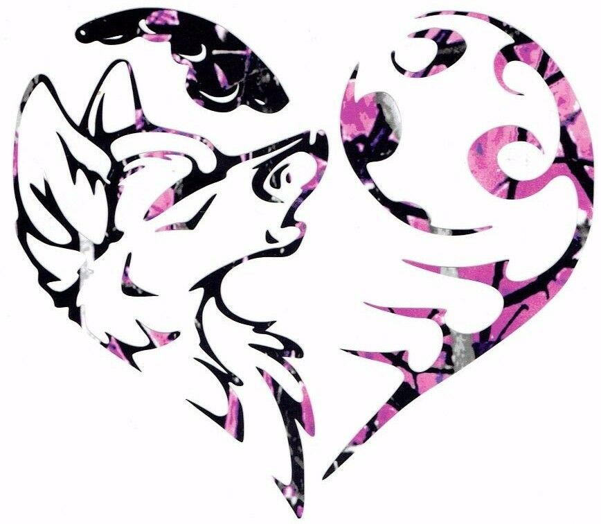 Tribal Wolf Heart Muddy Girl Camo 3M 5 X 5 Vinyl Decal Ideas And Designs