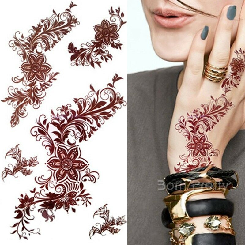 3D Waterproof Temporary India Mehndi Tattoo Decals Henna Ideas And Designs