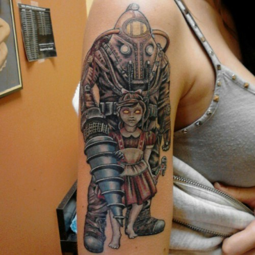 Gaming Tattoos Big Daddy Bioshock Little Sister Rapture 2K Ideas And Designs