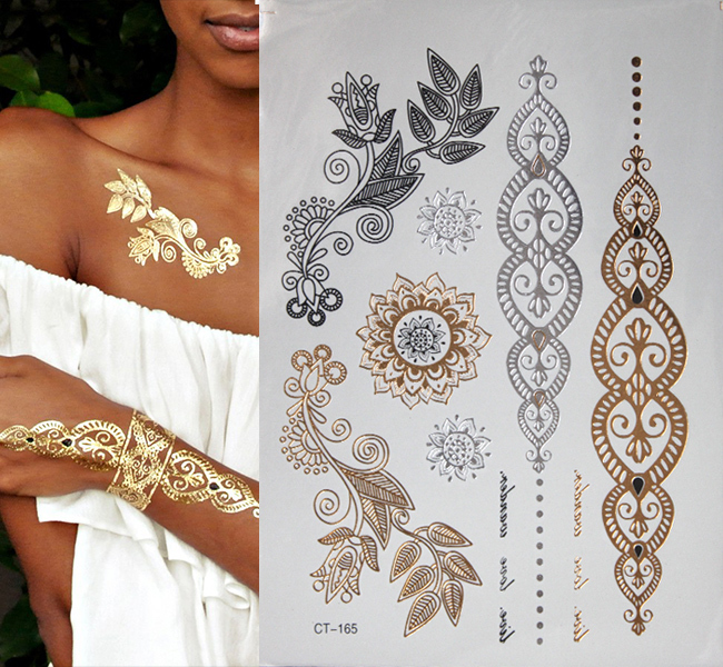 Hot Fashion Gold Flash Tattoo Temporary Jewelry Tattoos Ideas And Designs