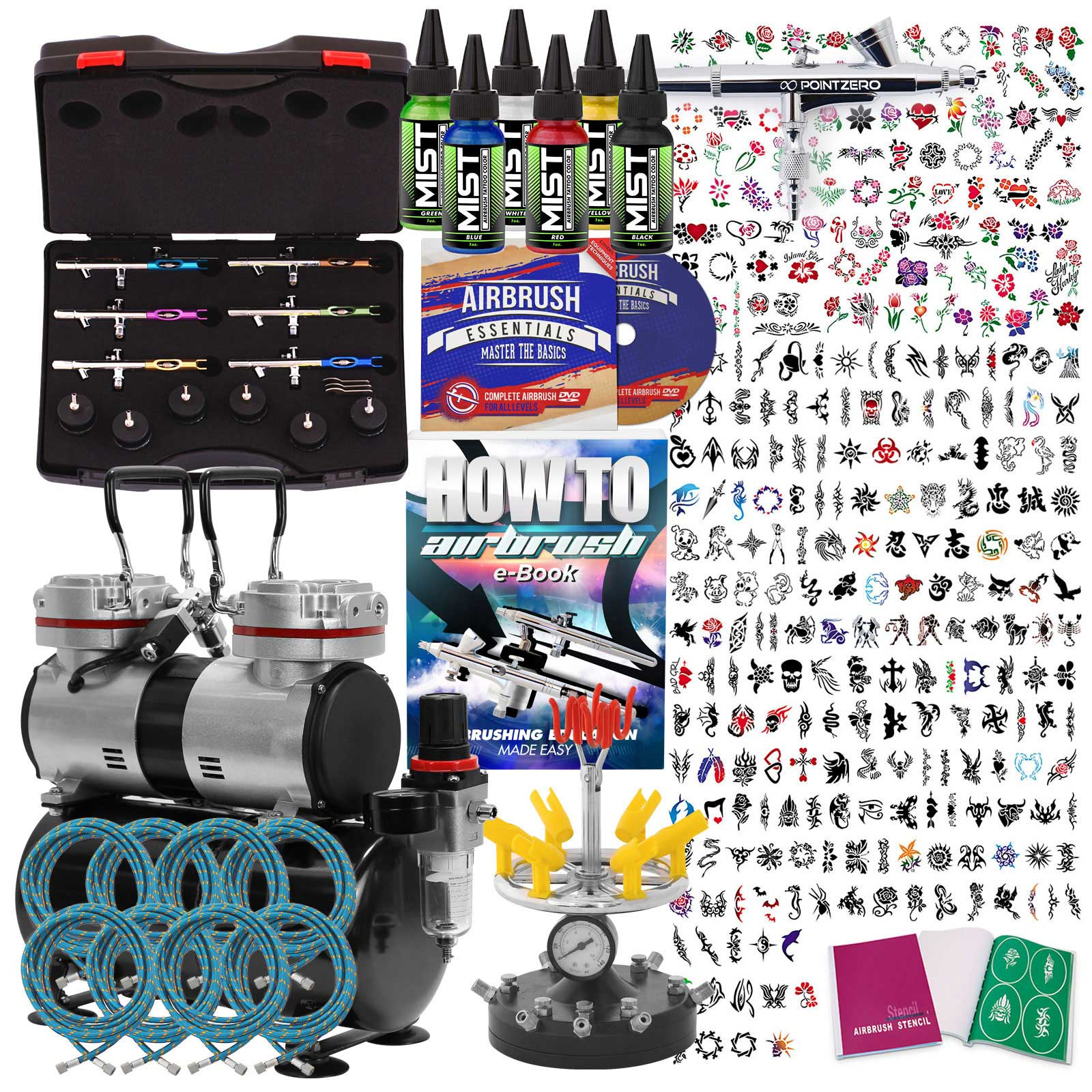 Temporary Tattoo Airbrush Kit 6 Gun Set With Compressor Ideas And Designs