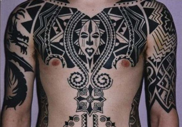 Black African Tribal Tattoo On Chest Ideas And Designs