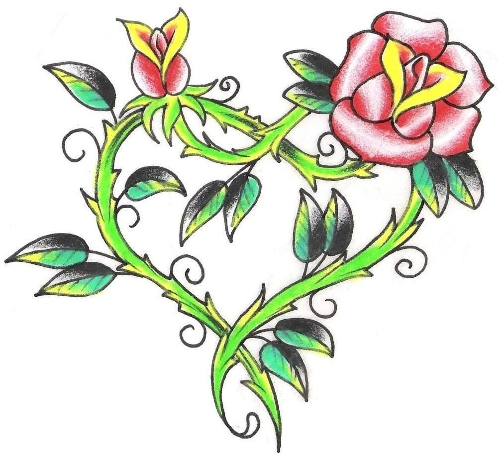 Pink Rose Heart Tattoo Design Ideas And Designs
