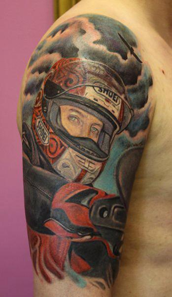 Colored Motorcycle Biker Tattoo On Half Sleeve Ideas And Designs