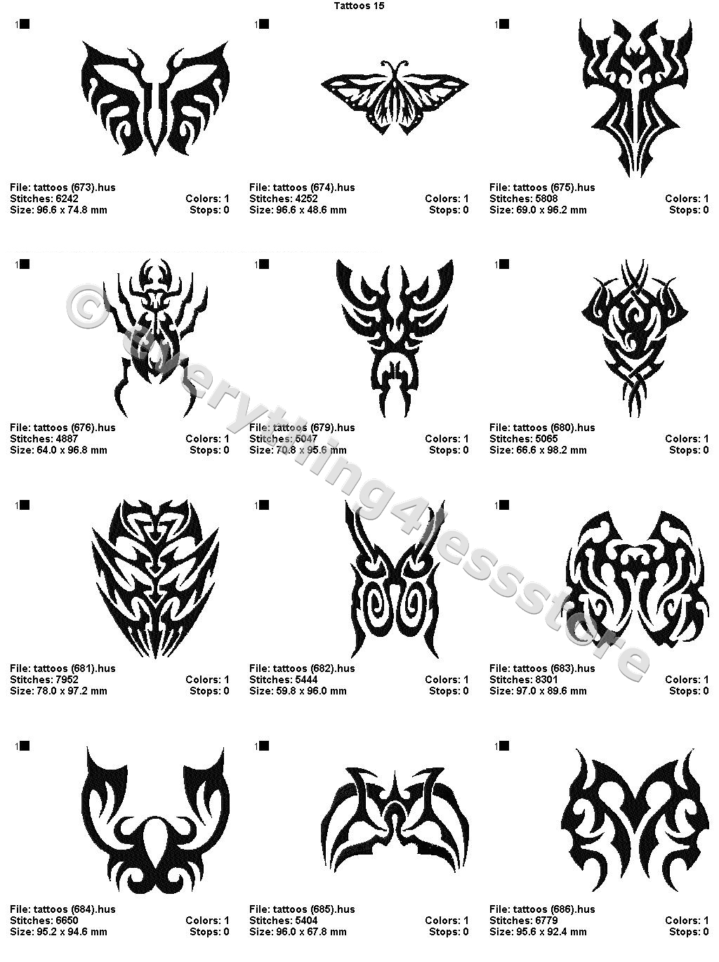 48 Tattoos 4X4 Volume 15 Mega Embroidery Designs On Cd Ebay Ideas And Designs