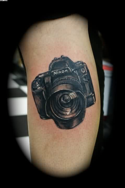 Black Ink Nikon Camera Tattoo – Site Title Ideas And Designs