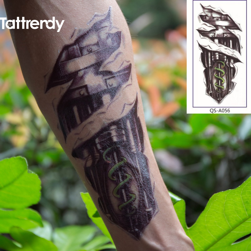 Robot Machine Arm Temporary Body Art Flash Tattoo Stickers Ideas And Designs
