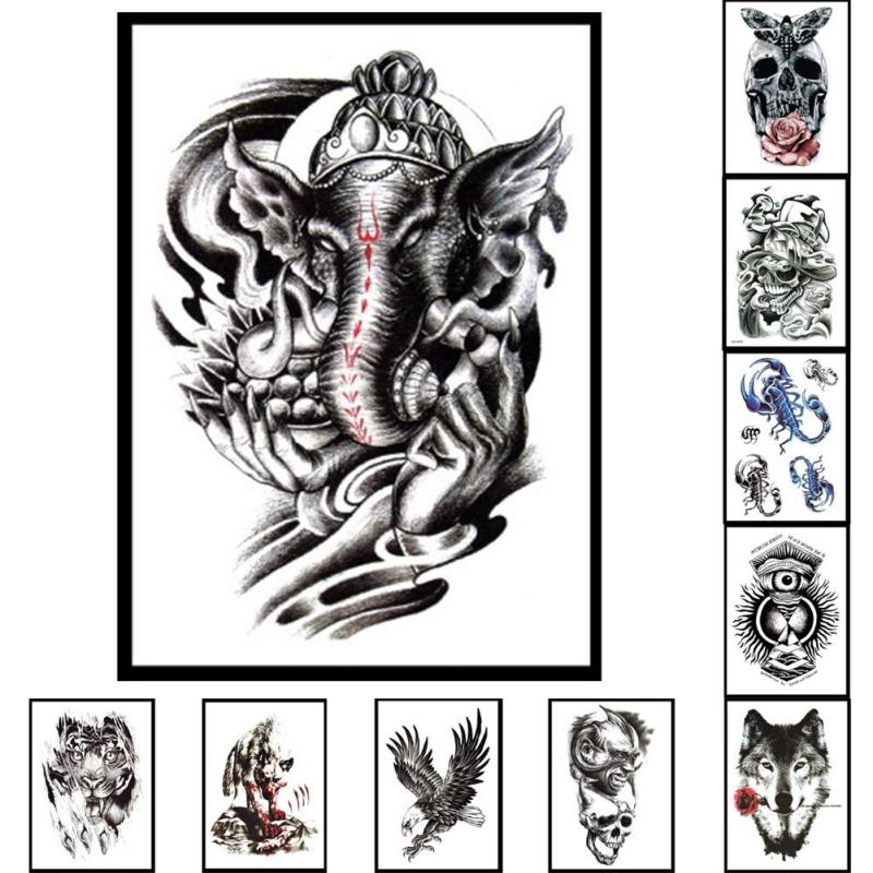 Big Szie Waterproof Black Henna Elephant Tiger Hawk Tatoo Ideas And Designs