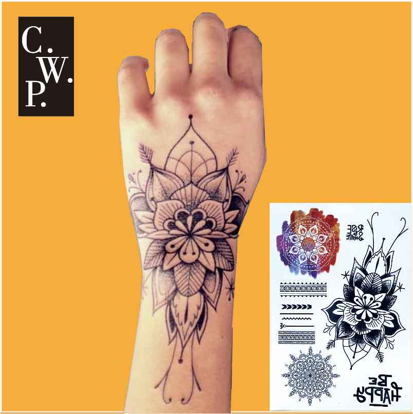 Bh1708 1 Piece Wrist Black Big Flower Henna Temporary Ideas And Designs