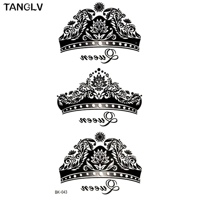 Bk 043 Waterproof Temporary Tattoo S*Xy Black Crown Five Ideas And Designs