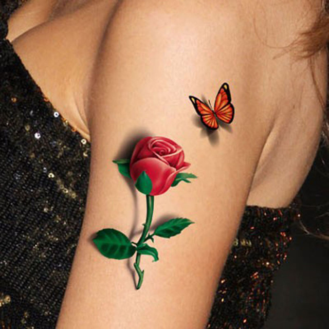 1Pcs 3D Rose Tattoo Flower Fake Temporary Fantasy Ideas And Designs