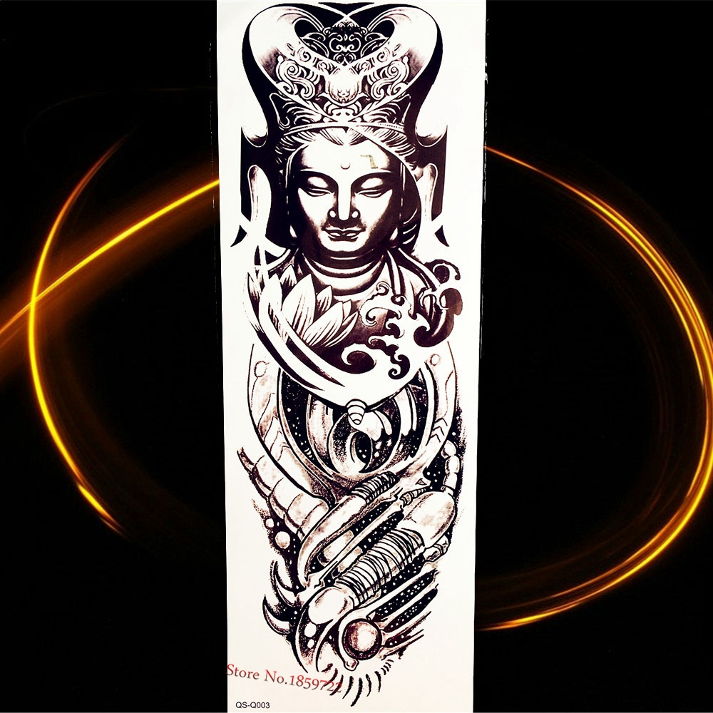46 17Cm Black Large Full Arm Buddha Temporary Tattoo Women Ideas And Designs