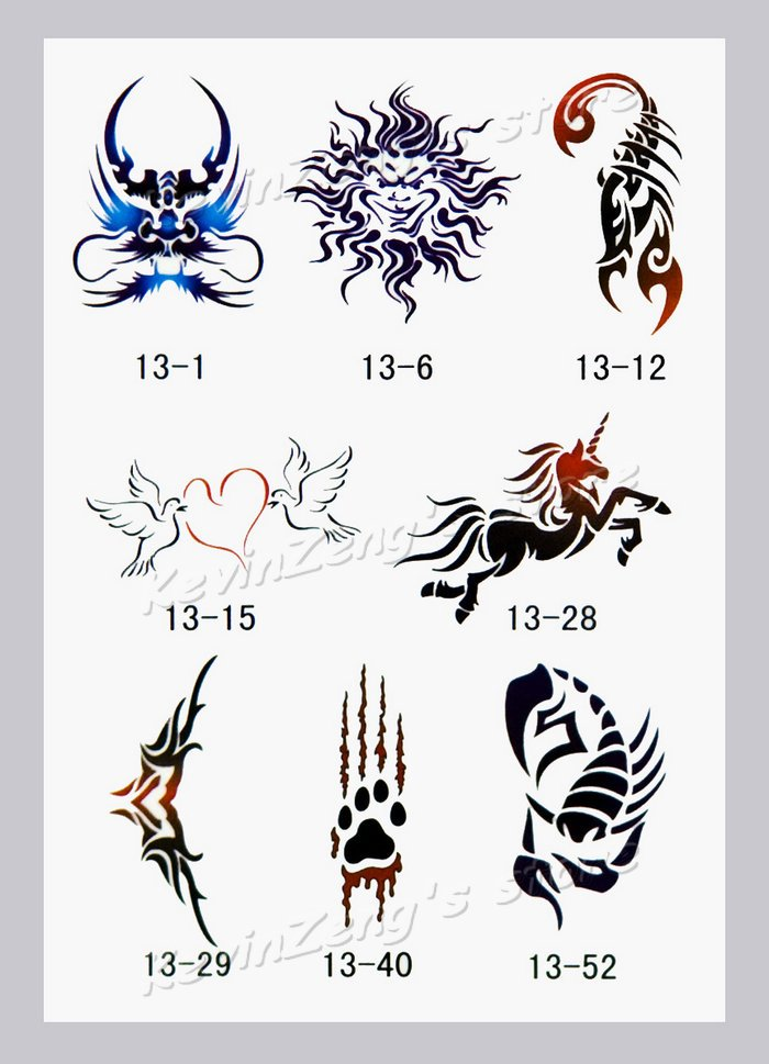 Free Shipping Temporary Airbrush Tattoo Stencils Glitter Ideas And Designs