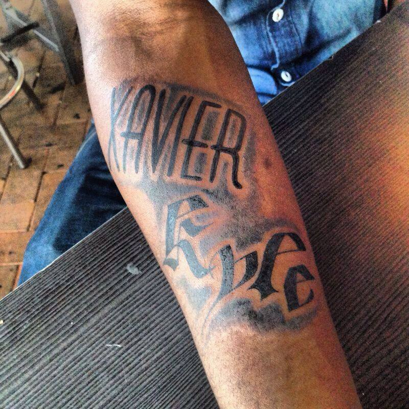 Ak Fourtyseven Tattoo's His Kids Names On His Arm Ideas And Designs