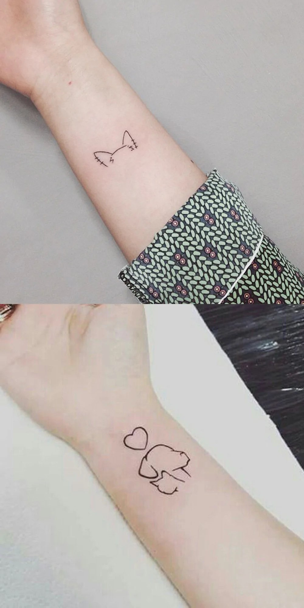 Cute Small Minimal Cat Dog Outline Wrist Tattoo Ideas For Ideas And Designs