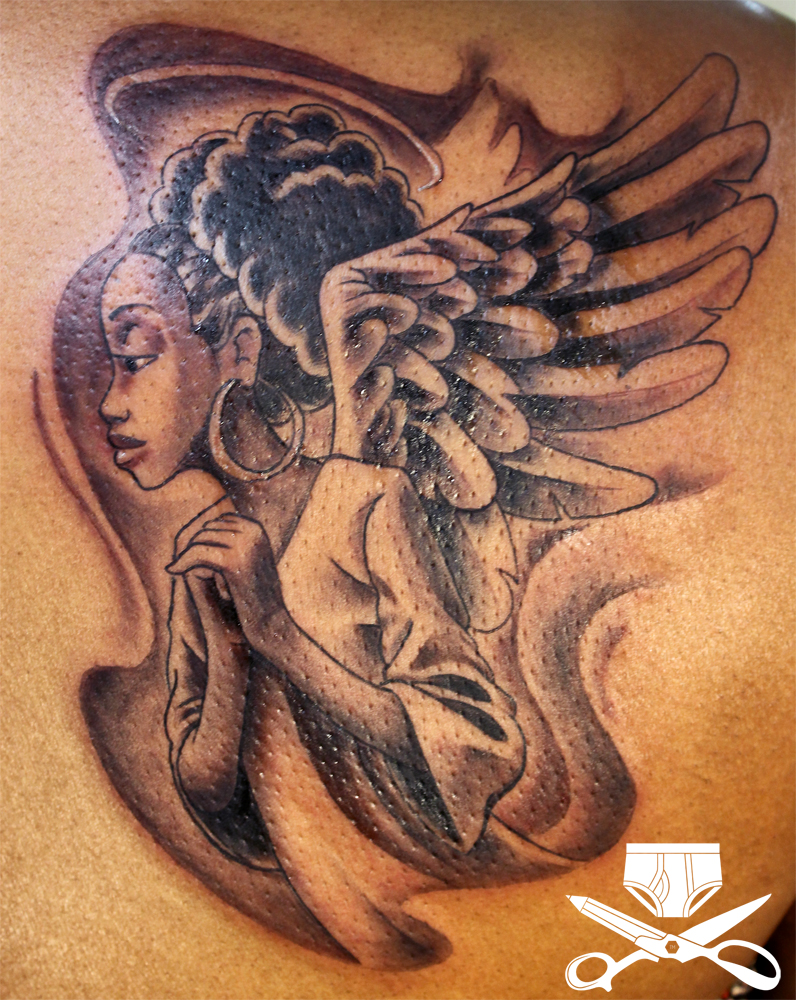 African American Angel Tattoo Hautedraws Ideas And Designs