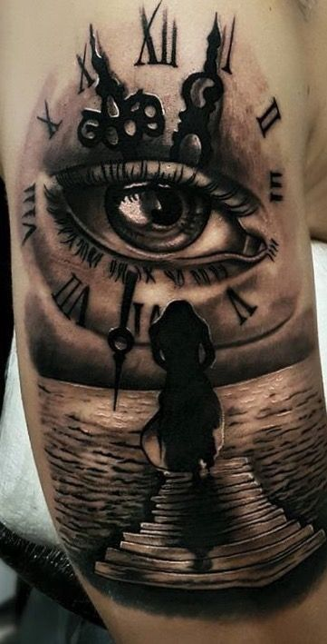 Jamie S Eye In A Time Piece Chest Piece Tattoos Clock Ideas And Designs