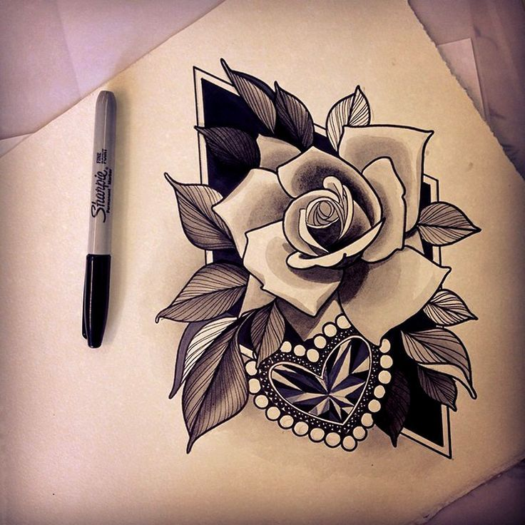 34 Best Heart Rose Tattoo Images On Pinterest Rose Ideas And Designs