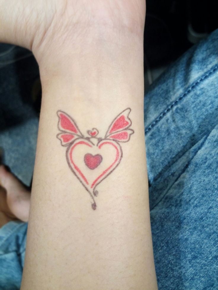 Red Heart And Butterfly Tattoo On The Wrist Simple And Ideas And Designs