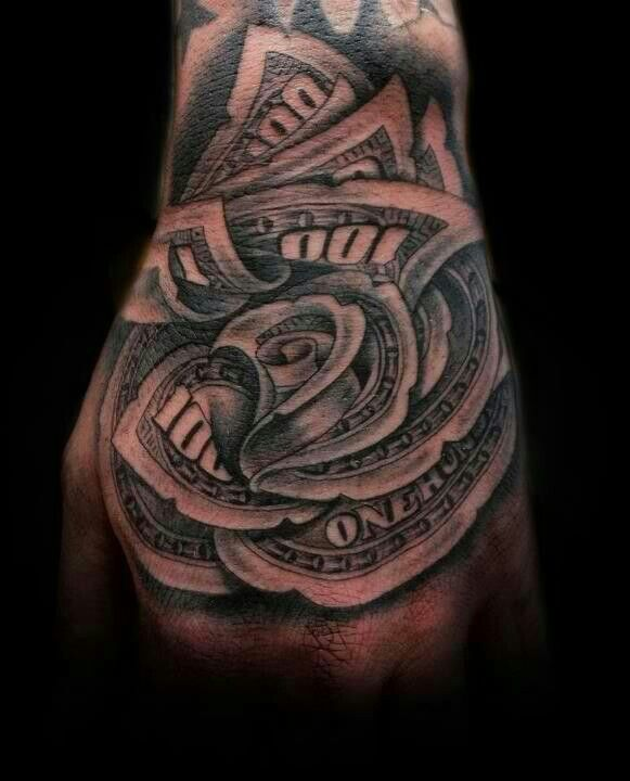 100 Dollar Bill Rose Rose Tattoos Hand Tattoos Ideas And Designs