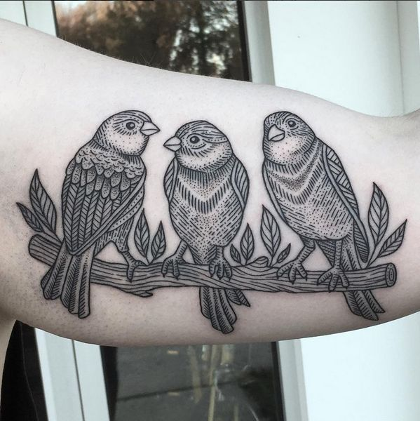 Linework Birds By Kelly Killagain At 777 Tattoos Ideas And Designs