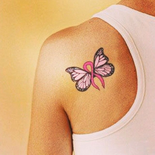 55 Best Pink Ribbon Butterfly Tattoos Images On Pinterest Ideas And Designs