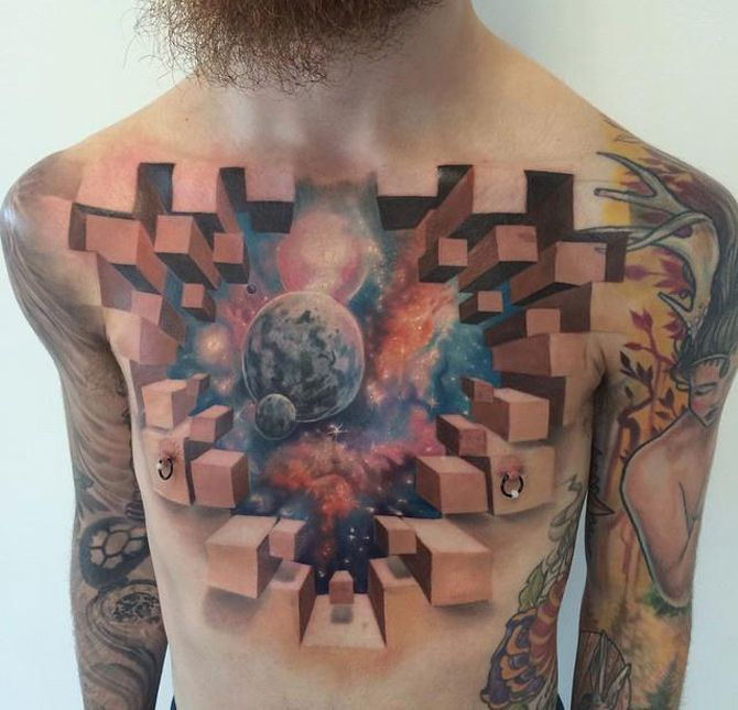 3D Space Chest Tattoo Best Tattoo Ideas Designs Arm Ideas And Designs