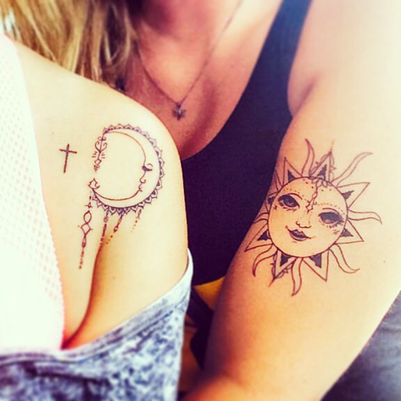 Best Friend Tattoos Sun And Moon Henna Style Ink Me Ideas And Designs