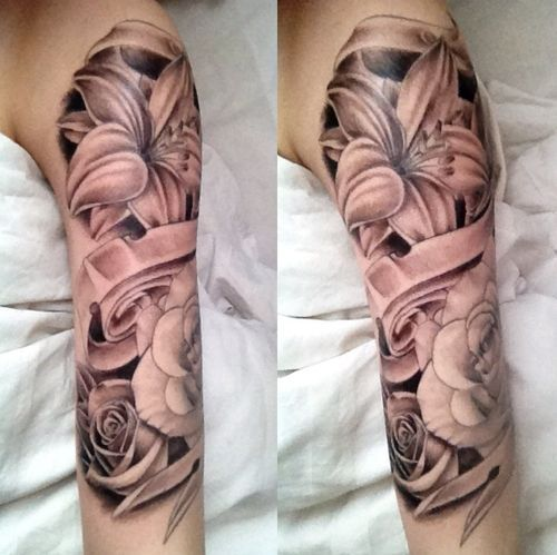 1 4 Sleeve Tattoo Girl Hibiscus Google Search My Style Ideas And Designs