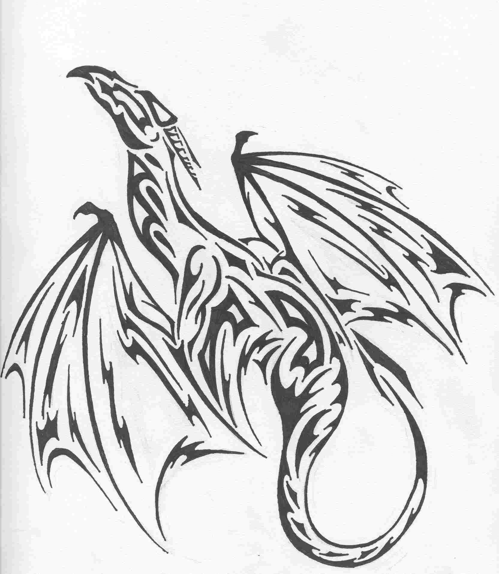 Tribal Dragon Tattoo Design If I Could I D Probably Get Ideas And Designs