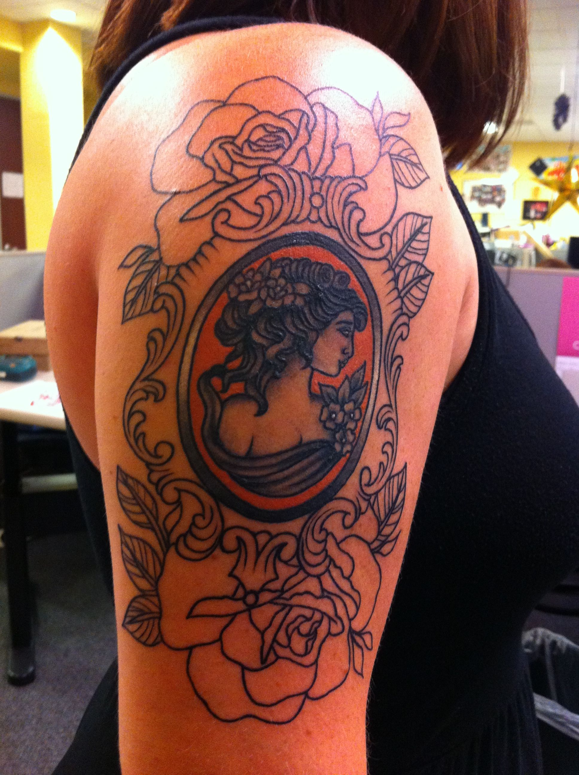 Cameo Tattoo Work In Progress But Love It Cameo Ideas And Designs