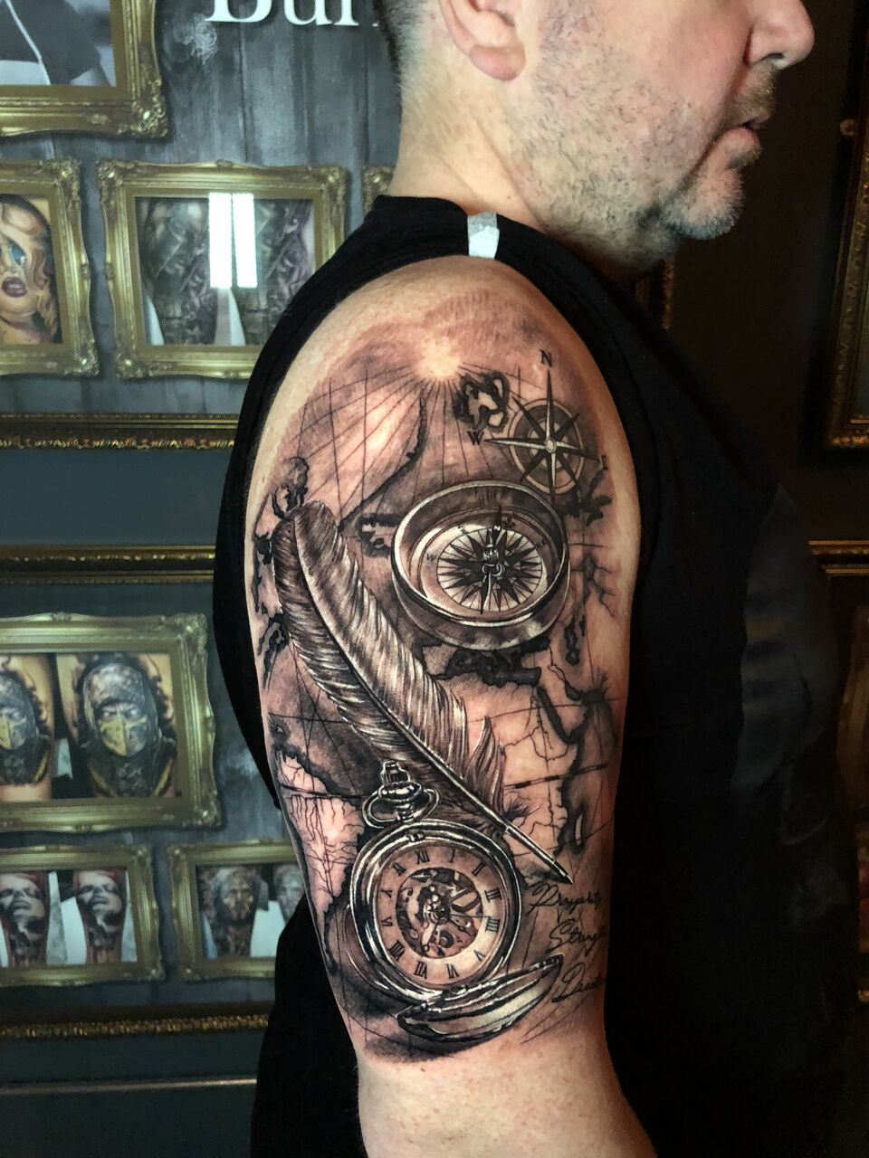 Map And Compass And Timepiece Tattoo By Luis Limited Ideas And Designs