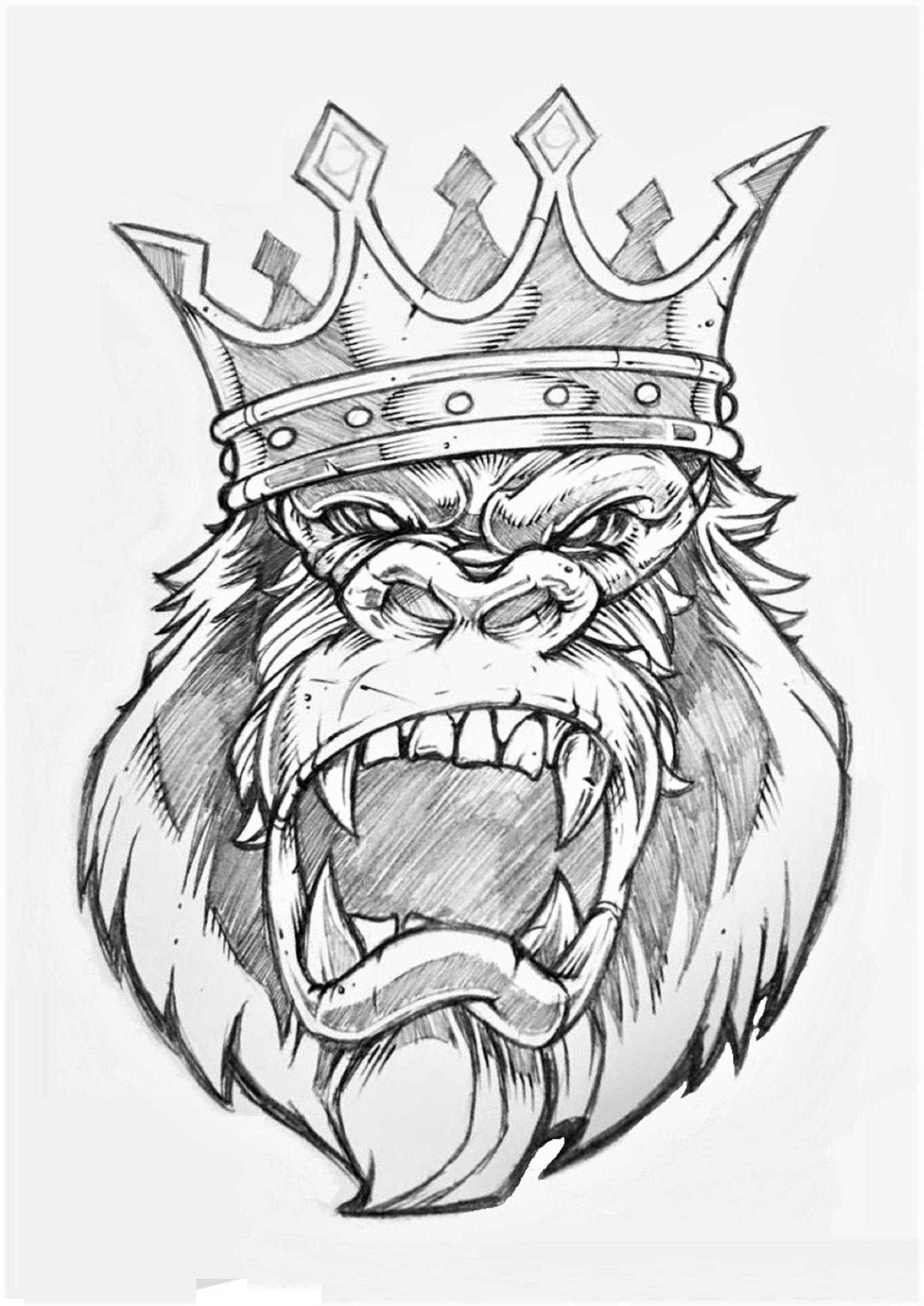 Gorilla King Lions Gorillas Tattoo Drawings Gorilla Ideas And Designs