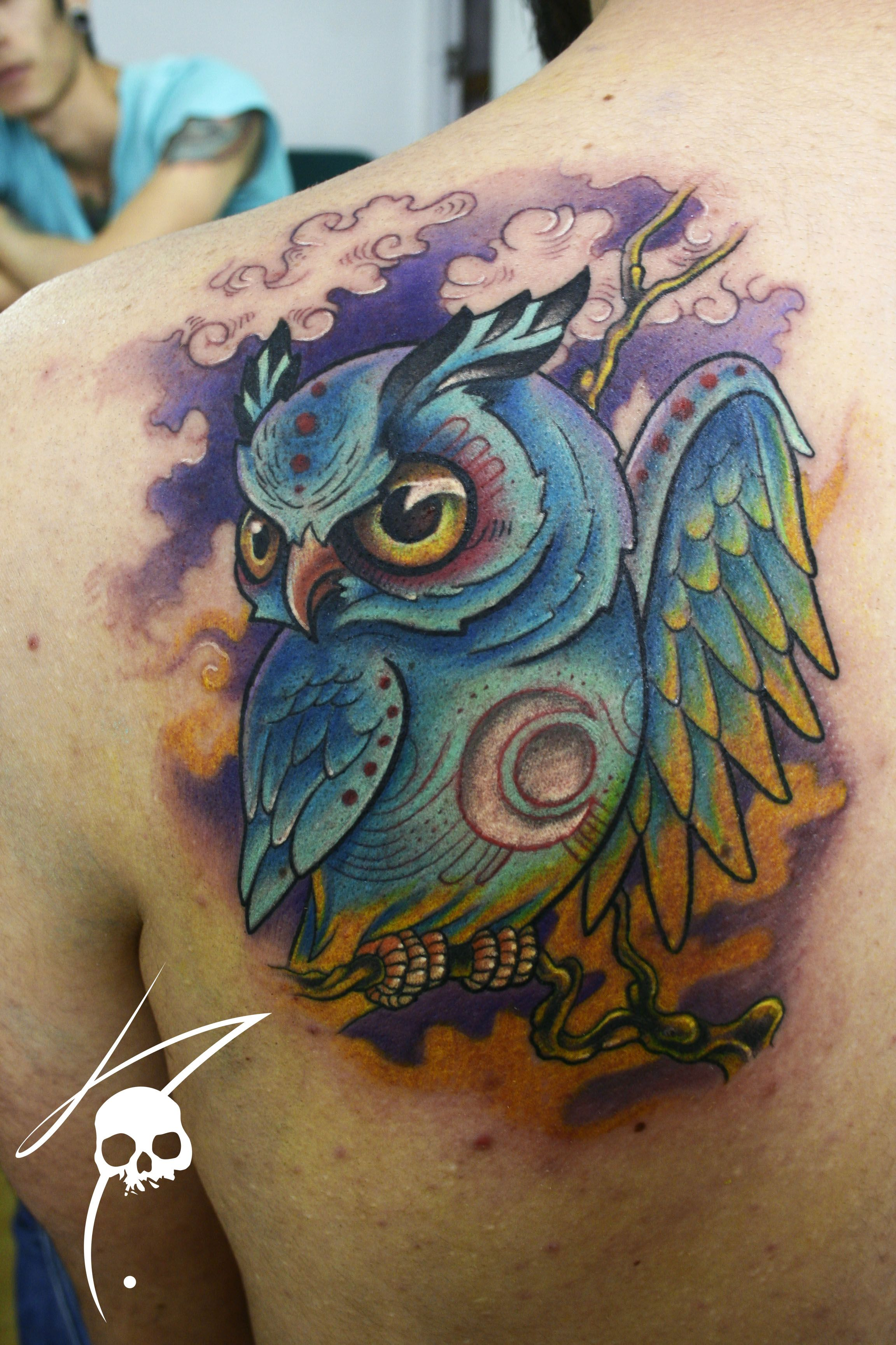 Owl Tattoo Color Tattoos Beautiful Images Tattoos Ideas And Designs