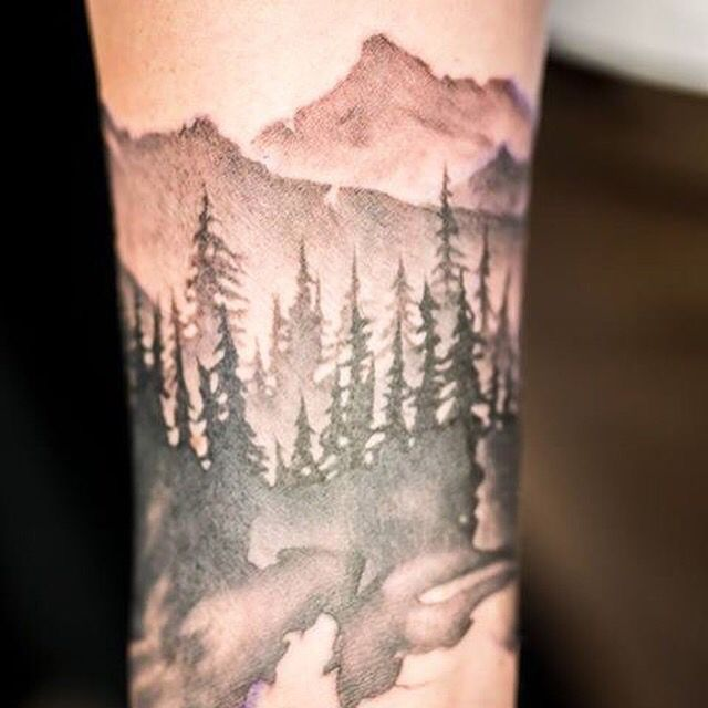 1 4 Sleeve Greyscale Forest And Mountain Sleeve Chronic Ideas And Designs