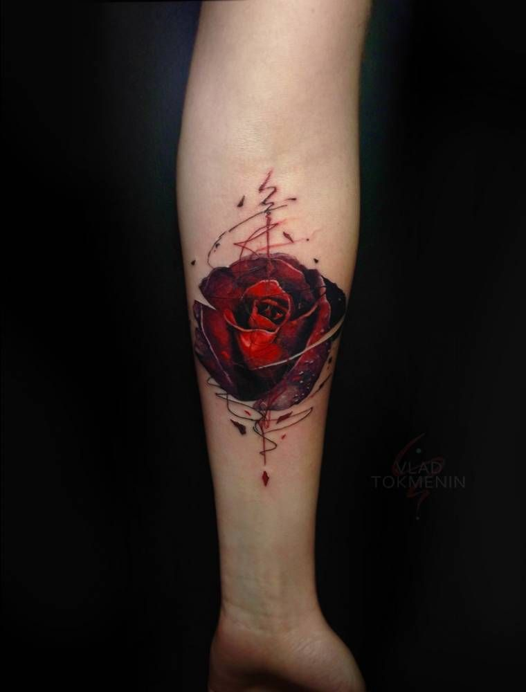 Graphic Style Red Rose Tattoo On The Inner Forearm Tattoo Ideas And Designs