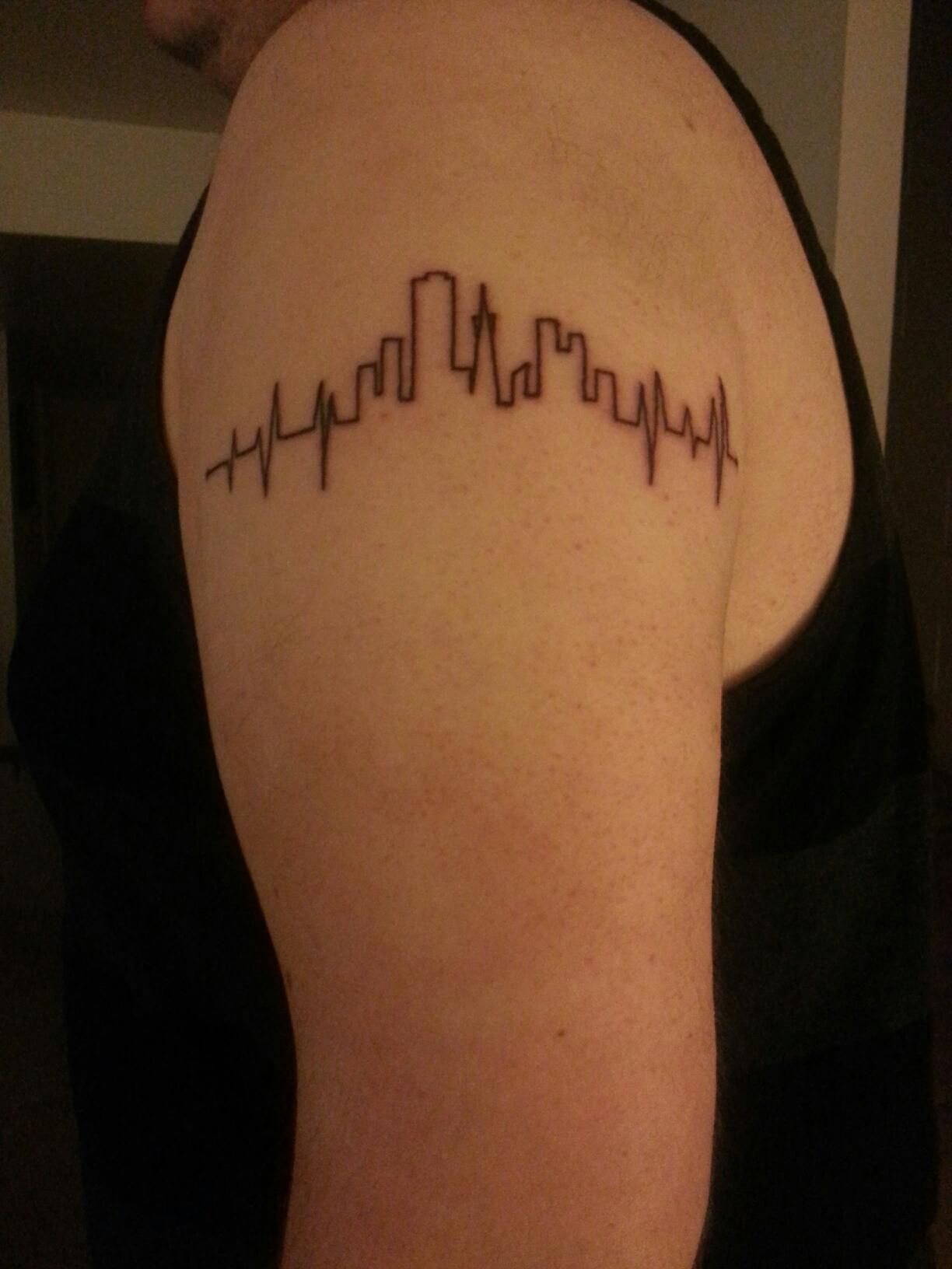 Just Got This Tattoo Heartbeat With San Francisco Skyline Ideas And Designs