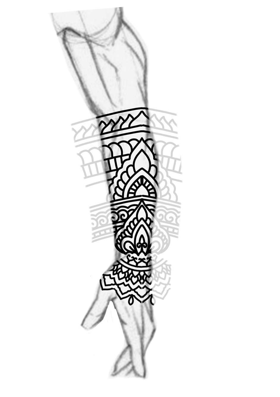 Blackwork Forearm Sleeve Mandala Ornamental Bold Lines Ideas And Designs