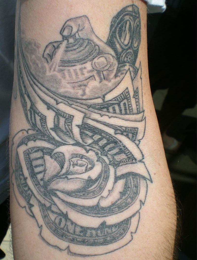 100 Dollar Bill Rose Tattoos Money ☠ Money Rose Ideas And Designs