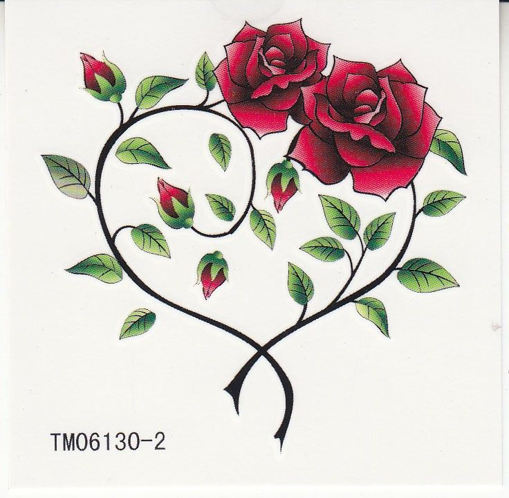 Waterproof Temporary Tattoos Two Roses Heart Shaped Ideas And Designs