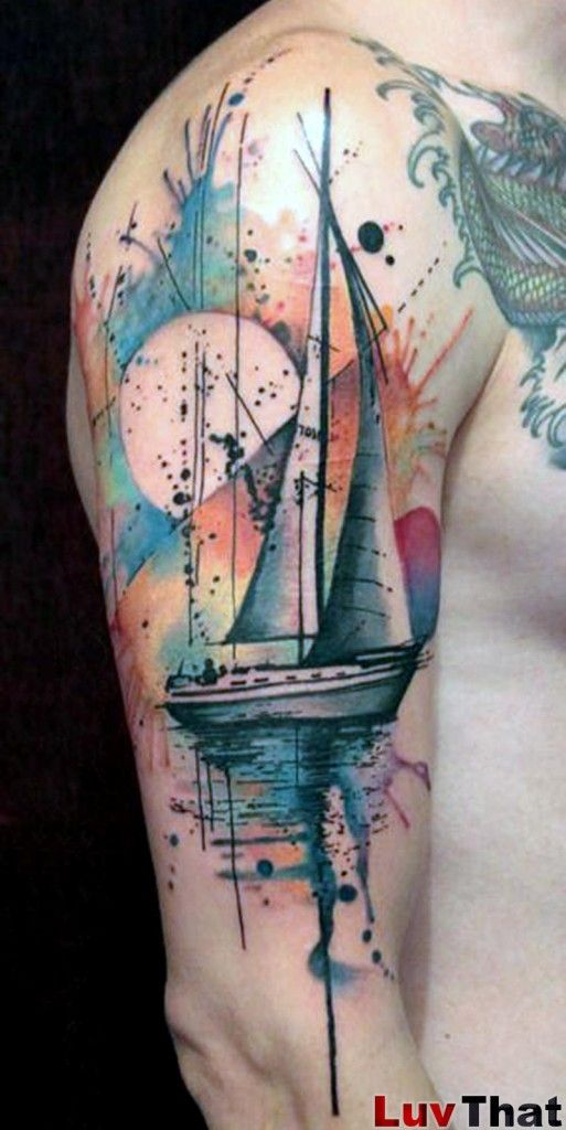 Sailboat Abstract Watercolor Tattoo Uniquely Inked Ideas And Designs