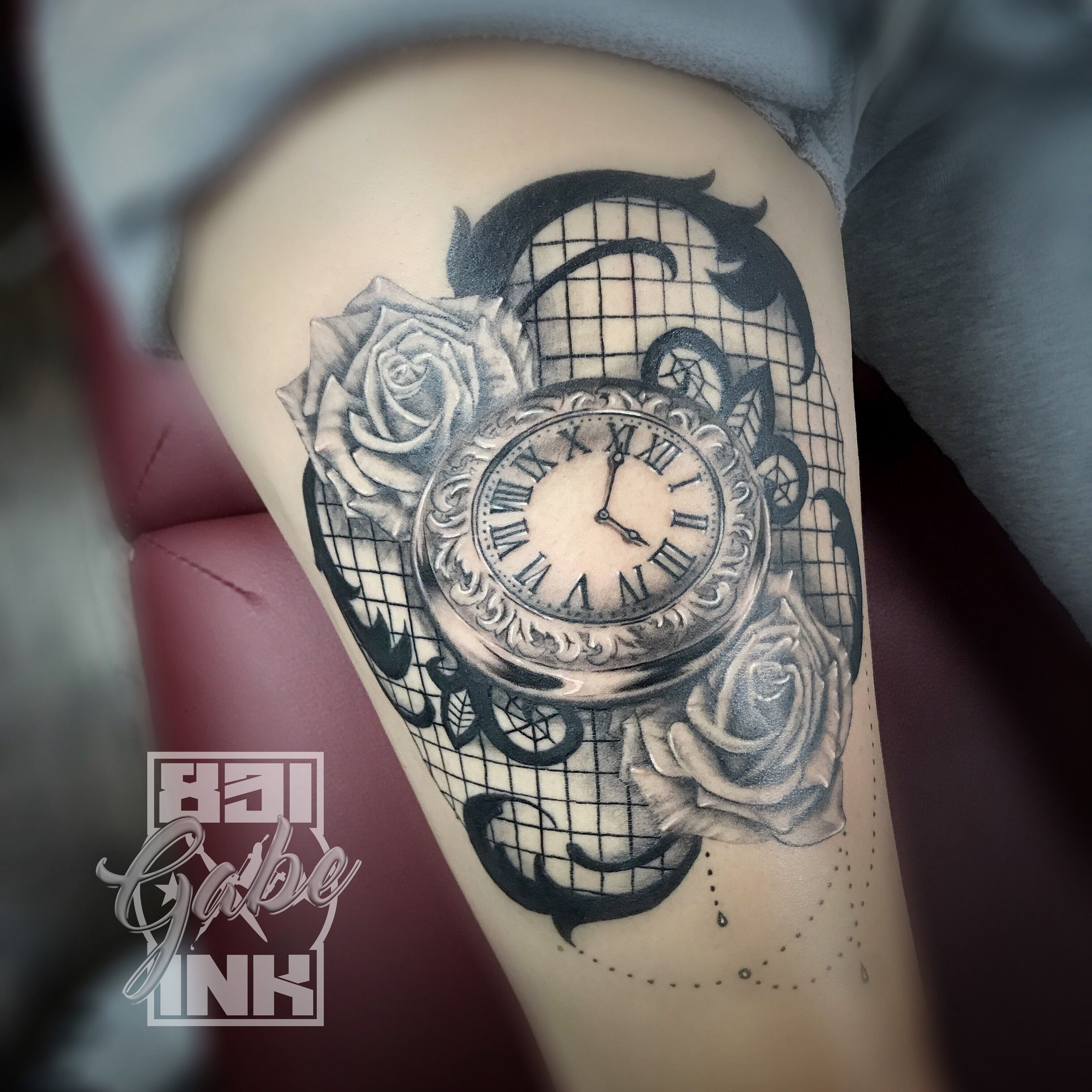 Clock Lace And Filigree Tattoo Done By Tattoo Artist Gabe Ideas And Designs