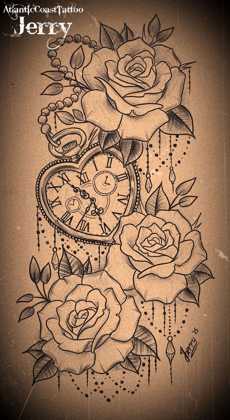 Heart Shaped Pocket Watch And Roses Tattoo Design Ideas And Designs