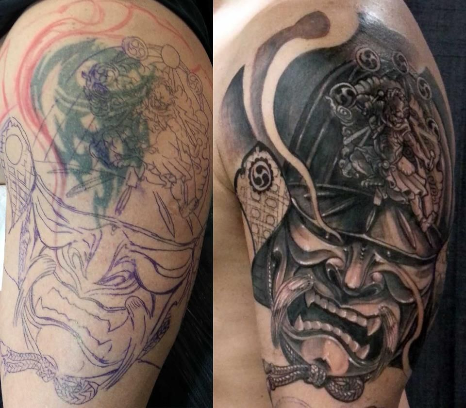 Tattoo Cover Up By Csaba Samurai Ink Cover Tattoo Ideas And Designs
