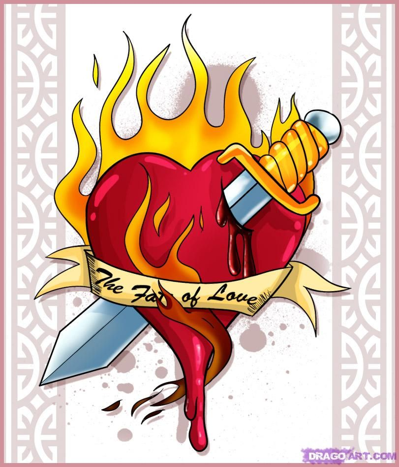 Hand Drawn Cool Flames Cool Heart Drawings Places To Ideas And Designs