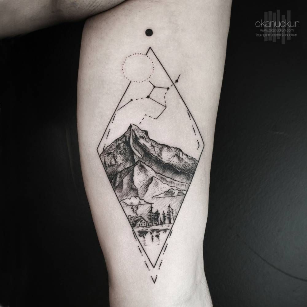 Landscape Tattoo On The Left Inner Arm Tattoo Little Ideas And Designs